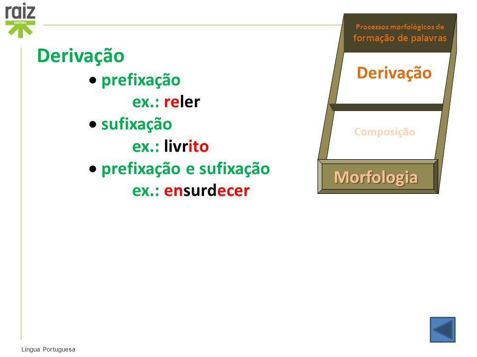 Língua Portuguesa Derivação  prefixação ex.: reler  sufixação ex.: livrito  prefixação e sufixação ex.: ensurdecer Morfologia Processos morfológico