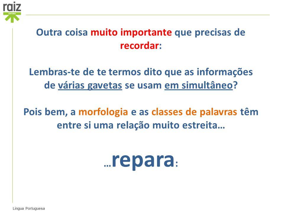 Língua Portuguesa Outra coisa muito importante que precisas de recordar: Lembras-te de te termos dito que as informações de várias gavetas se usam em