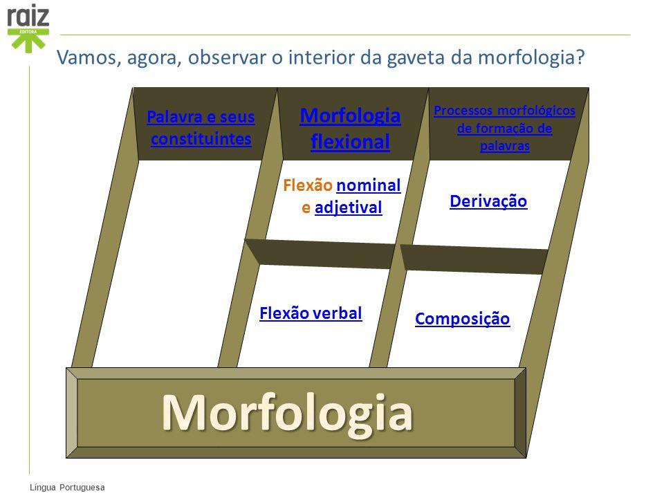 Língua Portuguesa Palavra e seus constituintes Morfologia flexional Processos morfológicos de formação de palavras Flexão nominalnominal e adjetivalad