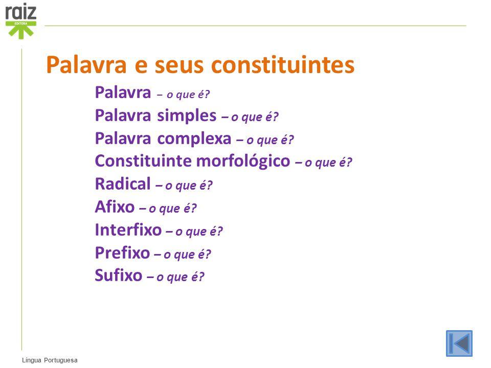 Língua Portuguesa Palavra e seus constituintes Palavra – o que é? Palavra simples – o que é? Palavra complexa – o que é? Constituinte morfológico – o