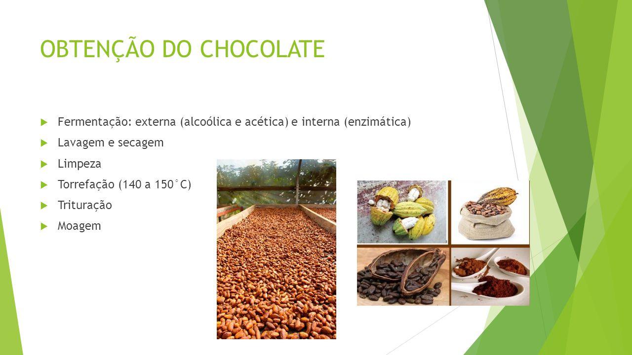 OBTENÇÃO DO CHOCOLATE  Fermentação: externa (alcoólica e acética) e interna (enzimática)  Lavagem e secagem  Limpeza  Torrefação (140 a 150°C)  Trituração  Moagem