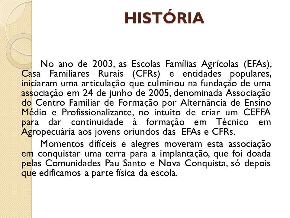 HISTÓRIA No ano de 2003, as Escolas Famílias Agrícolas (EFAs), Casa Familiares Rurais (CFRs) e entidades populares, iniciaram uma articulação que culminou na fundação de uma associação em 24 de junho de 2005, denominada Associação do Centro Familiar de Formação por Alternância de Ensino Médio e Profissionalizante, no intuito de criar um CEFFA para dar continuidade à formação em Técnico em Agropecuária aos jovens oriundos das EFAs e CFRs.