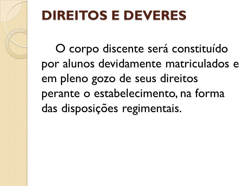 DIREITOS E DEVERES O corpo discente será constituído por alunos devidamente matriculados e em pleno gozo de seus direitos perante o estabelecimento, na forma das disposições regimentais.