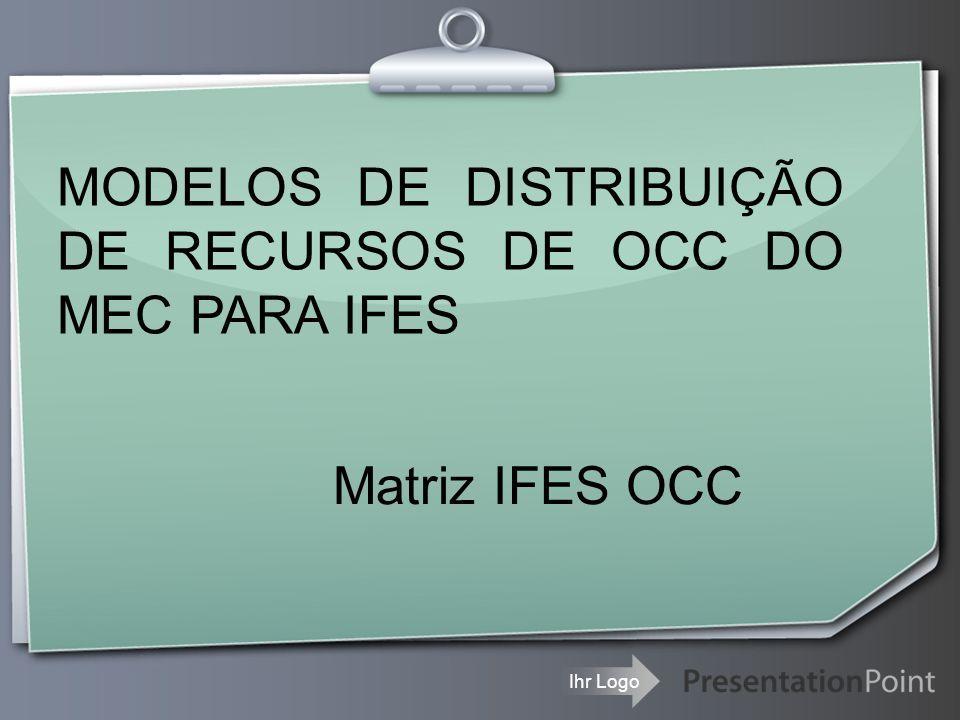 Ihr Logo Matriz IFES OCC MODELOS DE DISTRIBUIÇÃO DE RECURSOS DE OCC DO MEC PARA IFES