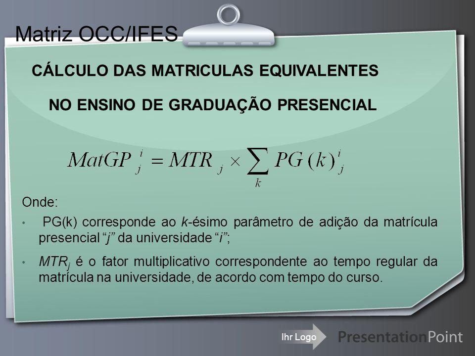 Ihr Logo CÁLCULO DAS MATRICULAS EQUIVALENTES Matriz OCC/IFES NO ENSINO DE GRADUAÇÃO PRESENCIAL Onde: PG(k) corresponde ao k-ésimo parâmetro de adição