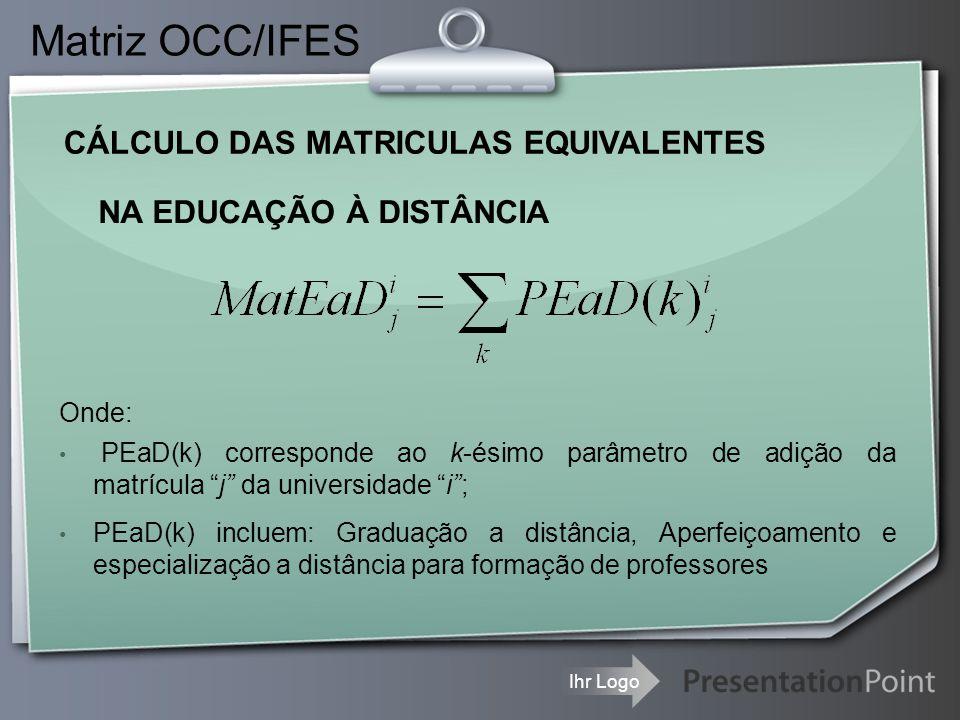 Ihr Logo CÁLCULO DAS MATRICULAS EQUIVALENTES Matriz OCC/IFES NA EDUCAÇÃO À DISTÂNCIA Onde: PEaD(k) corresponde ao k-ésimo parâmetro de adição da matrí