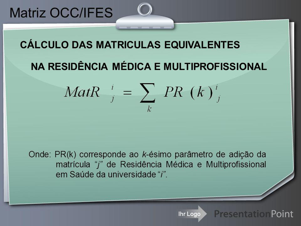 Ihr Logo CÁLCULO DAS MATRICULAS EQUIVALENTES Matriz OCC/IFES NA RESIDÊNCIA MÉDICA E MULTIPROFISSIONAL Onde: PR(k) corresponde ao k-ésimo parâmetro de