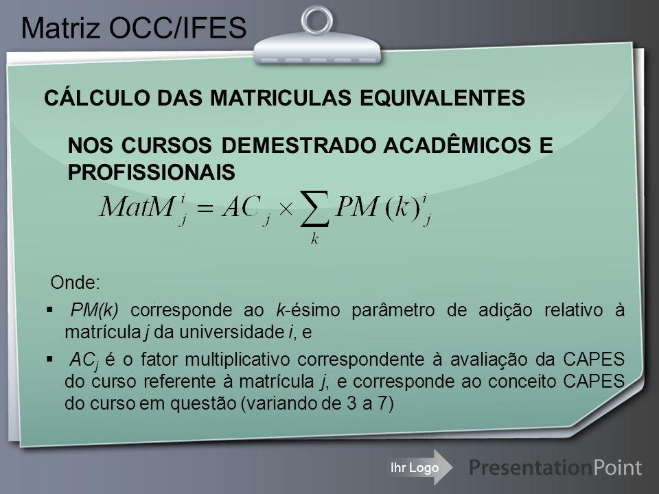 Ihr Logo CÁLCULO DAS MATRICULAS EQUIVALENTES Matriz OCC/IFES NOS CURSOS DEMESTRADO ACADÊMICOS E PROFISSIONAIS Onde:  PM(k) corresponde ao k-ésimo par