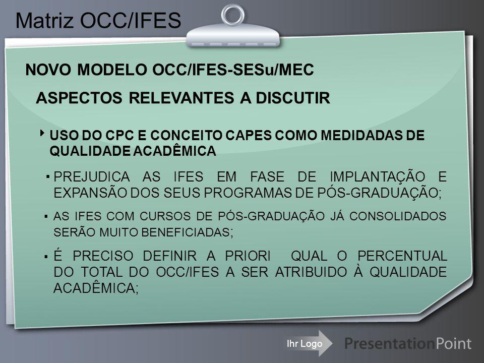 Ihr Logo Matriz OCC/IFES NOVO MODELO OCC/IFES-SESu/MEC ▪PREJUDICA AS IFES EM FASE DE IMPLANTAÇÃO E EXPANSÃO DOS SEUS PROGRAMAS DE PÓS-GRADUAÇÃO; ▪ AS