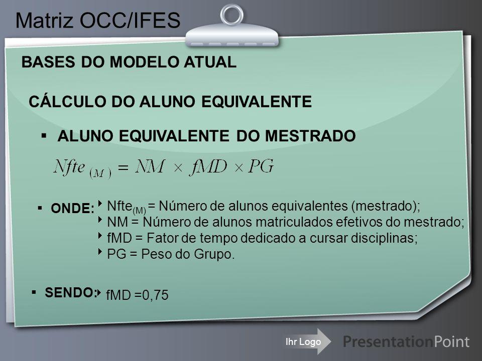 Ihr Logo CÁLCULO DAS MATRICULAS EQUIVALENTES Matriz OCC/IFES NOS CURSOS DE DOUTORADO Onde:  PD(k) corresponde ao k-ésimo parâmetro de adição relativo à matrícula j da universidade i, e  AC j é o fator multiplicativo correspondente à avaliação da CAPES do curso referente à matrícula j, e corresponde ao conceito CAPES do curso em questão (variando de 3 a 7)