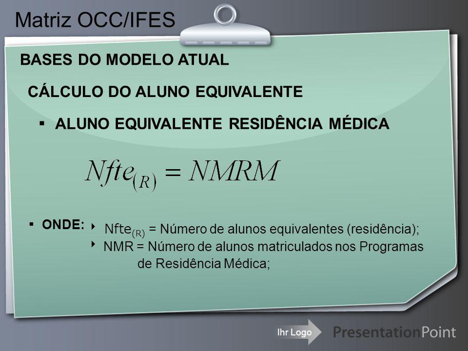Ihr Logo CÁLCULO DO ALUNO EQUIVALENTE Matriz OCC/IFES ▪ ALUNO EQUIVALENTE RESIDÊNCIA MÉDICA ▪ ONDE:  Nfte (R) = Número de alunos equivalentes (residê