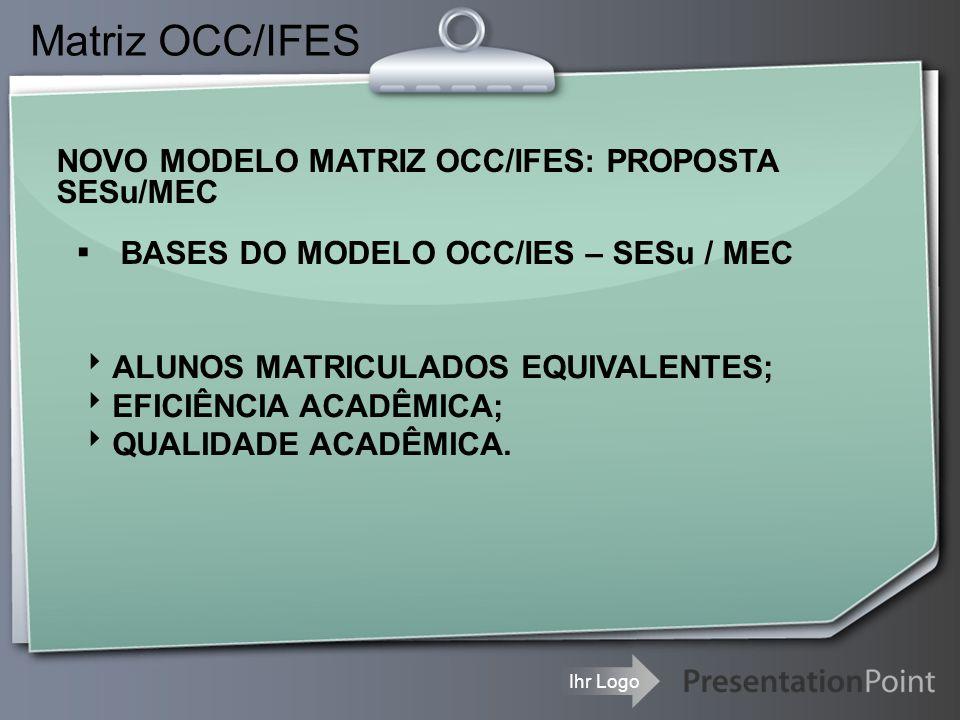 Ihr Logo Matriz OCC/IFES NOVO MODELO MATRIZ OCC/IFES: PROPOSTA SESu/MEC ▪ BASES DO MODELO OCC/IES – SESu / MEC  ALUNOS MATRICULADOS EQUIVALENTES;  E