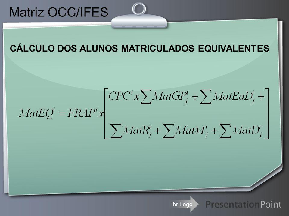 Ihr Logo Matriz OCC/IFES CÁLCULO DOS ALUNOS MATRICULADOS EQUIVALENTES  CPC i =Conceito Parcial do Curso i da IFES i ;  FRAP i = Distância do RAP i da universidade i para a média do conjunto das IFES(RAPM), limitado ao intervalo de 0,8 a 1,2;  FRAP i = Distância do RAP i ;
