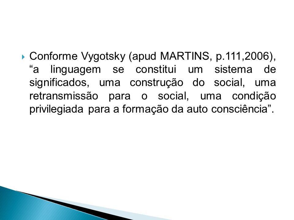 """ Conforme Vygotsky (apud MARTINS, p.111,2006), """"a linguagem se constitui um sistema de significados, uma construção do social, uma retransmissão para"""
