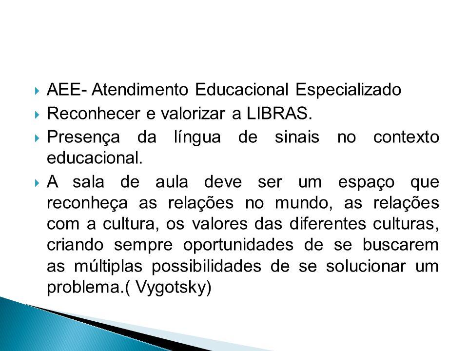  AEE- Atendimento Educacional Especializado  Reconhecer e valorizar a LIBRAS.  Presença da língua de sinais no contexto educacional.  A sala de au