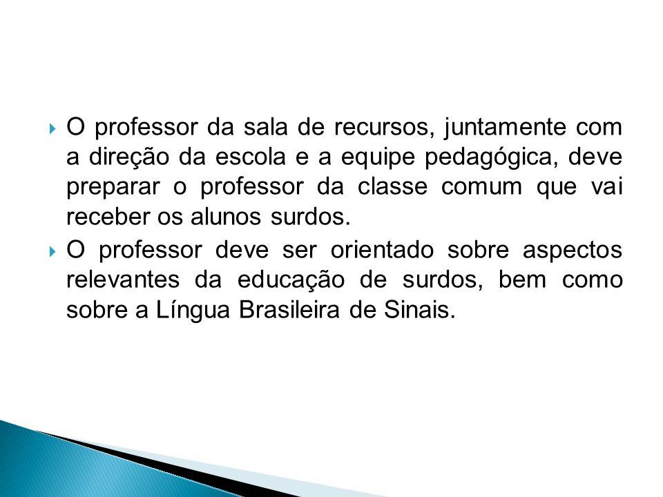  O professor da sala de recursos, juntamente com a direção da escola e a equipe pedagógica, deve preparar o professor da classe comum que vai receber