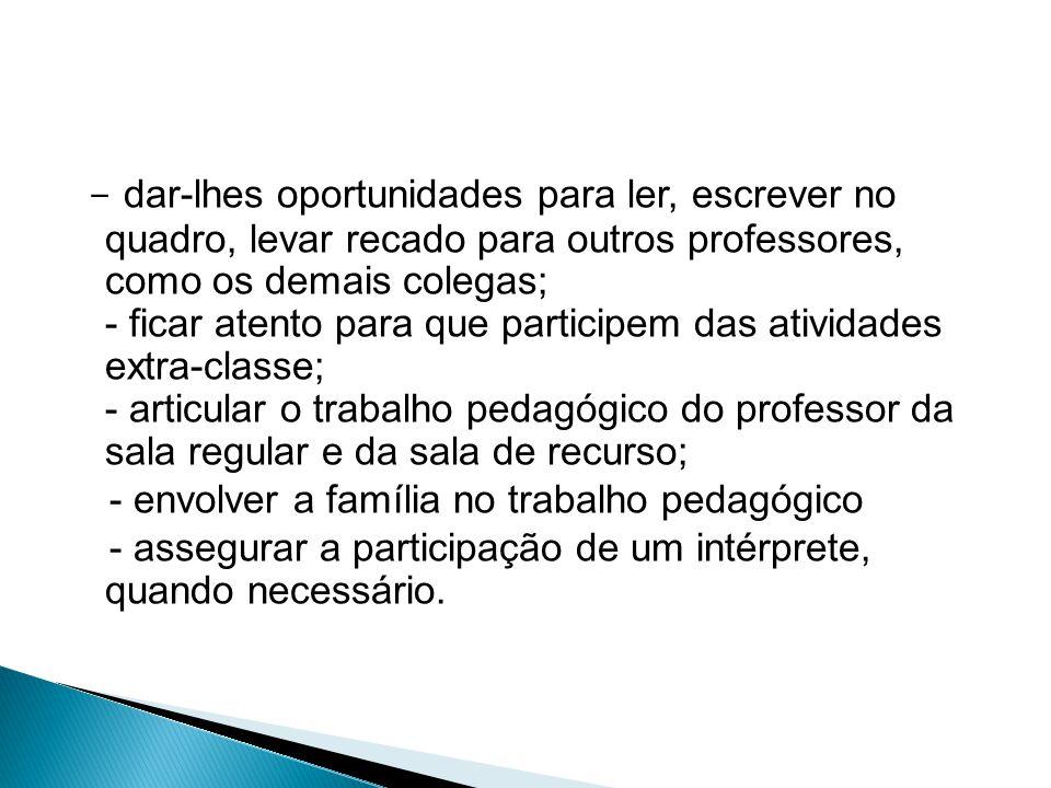 - dar-lhes oportunidades para ler, escrever no quadro, levar recado para outros professores, como os demais colegas; - ficar atento para que participe