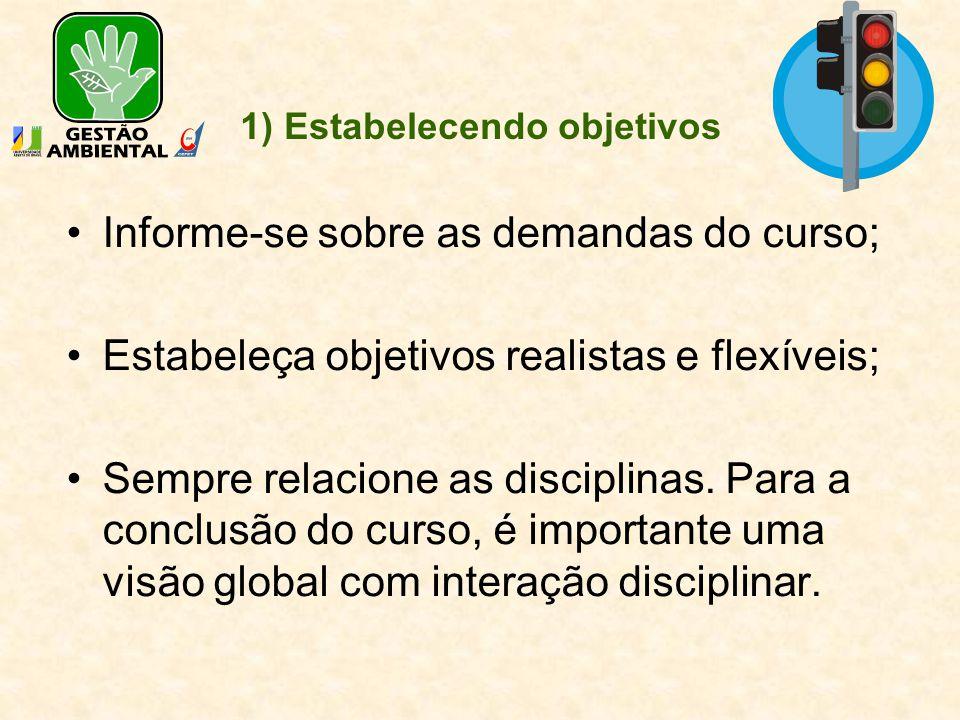 1) Estabelecendo objetivos Informe-se sobre as demandas do curso; Estabeleça objetivos realistas e flexíveis; Sempre relacione as disciplinas. Para a