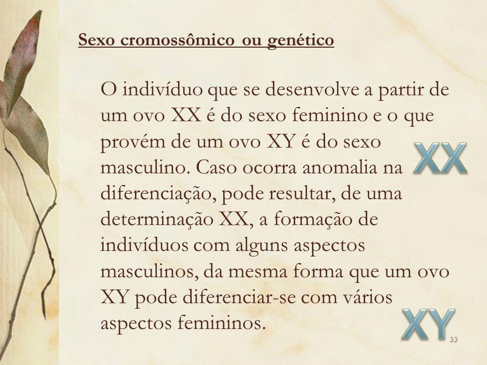 O indivíduo que se desenvolve a partir de um ovo XX é do sexo feminino e o que provém de um ovo XY é do sexo masculino. Caso ocorra anomalia na difere