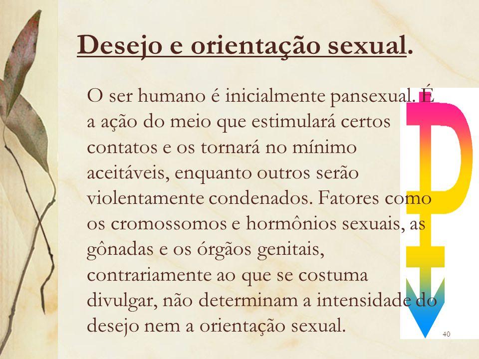 Desejo e orientação sexual. O ser humano é inicialmente pansexual. É a ação do meio que estimulará certos contatos e os tornará no mínimo aceitáveis,