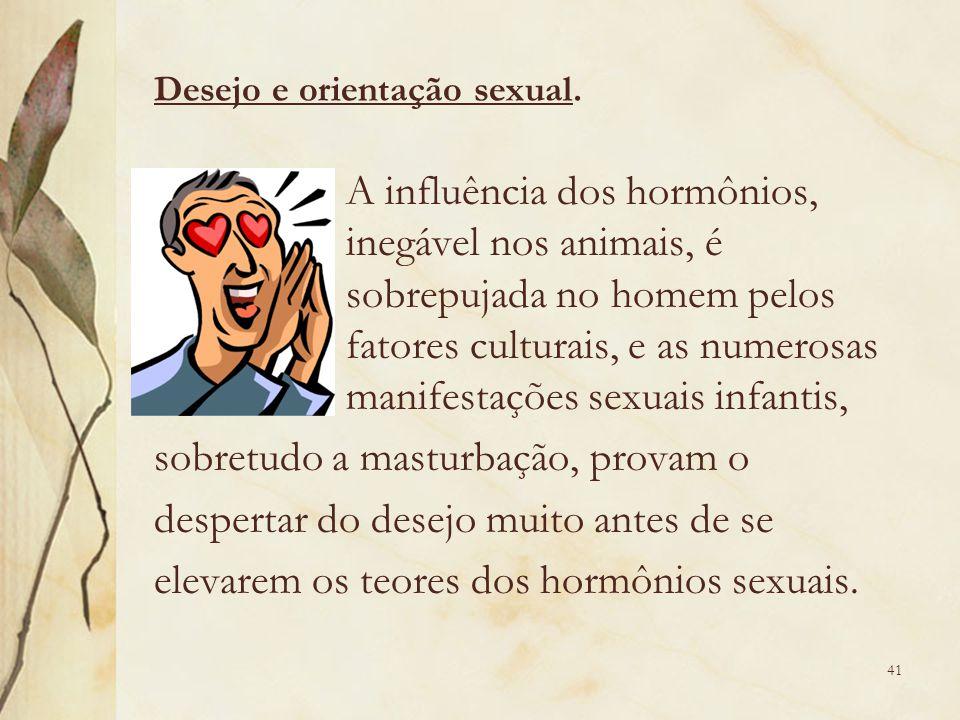 A influência dos hormônios, inegável nos animais, é sobrepujada no homem pelos fatores culturais, e as numerosas manifestações sexuais infantis, sobre
