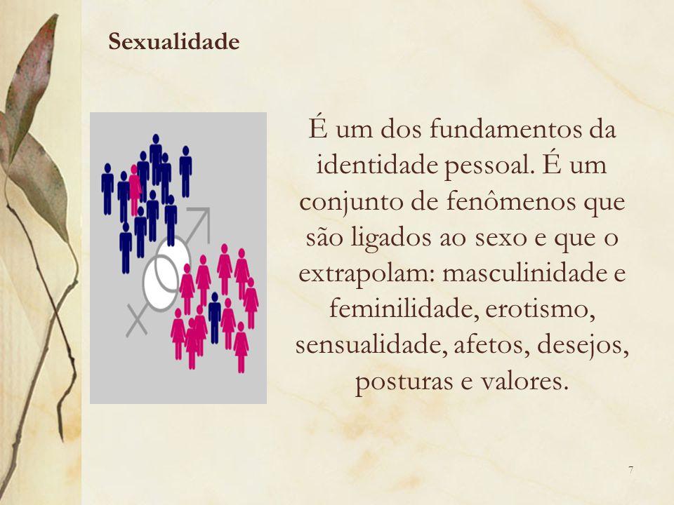 É um dos fundamentos da identidade pessoal. É um conjunto de fenômenos que são ligados ao sexo e que o extrapolam: masculinidade e feminilidade, eroti