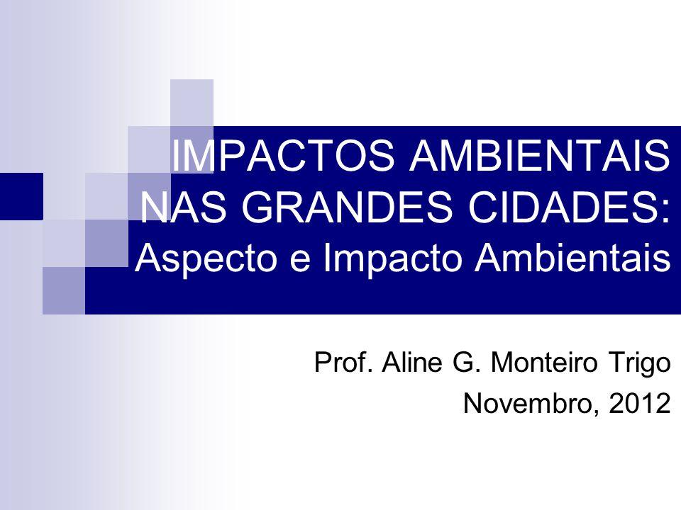 IMPACTOS AMBIENTAIS NAS GRANDES CIDADES: Aspecto e Impacto Ambientais Prof. Aline G. Monteiro Trigo Novembro, 2012