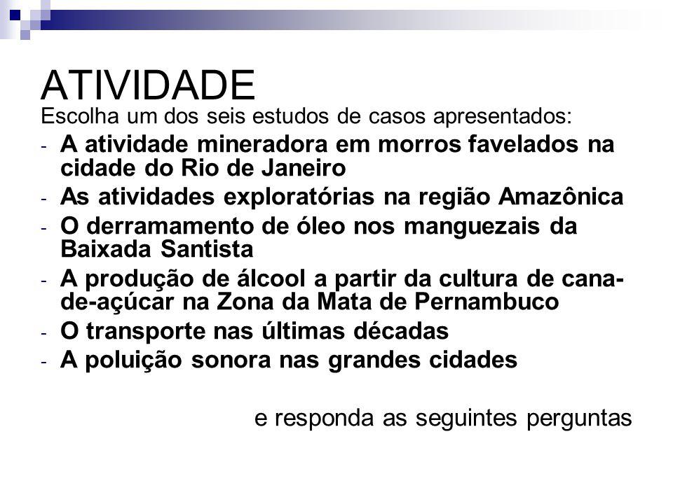 ATIVIDADE Escolha um dos seis estudos de casos apresentados: - A atividade mineradora em morros favelados na cidade do Rio de Janeiro - As atividades