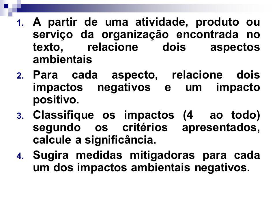 1. A partir de uma atividade, produto ou serviço da organização encontrada no texto, relacione dois aspectos ambientais 2. Para cada aspecto, relacion