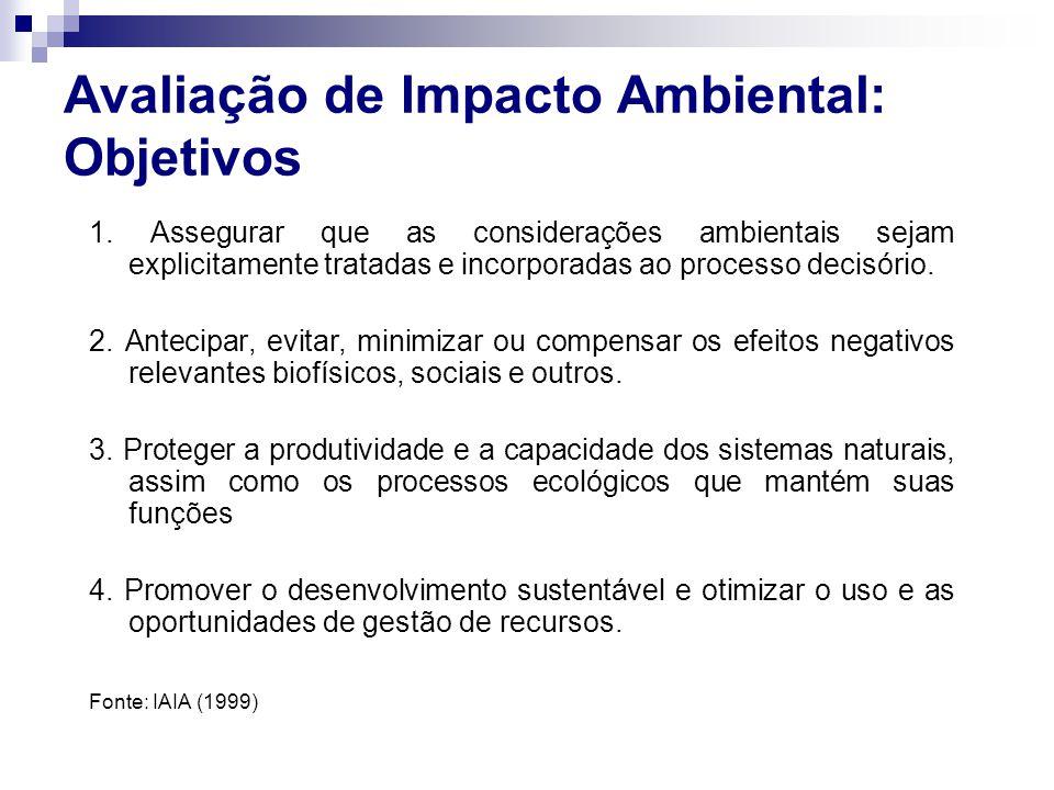 Avaliação de Impacto Ambiental: Objetivos 1. Assegurar que as considerações ambientais sejam explicitamente tratadas e incorporadas ao processo decisó