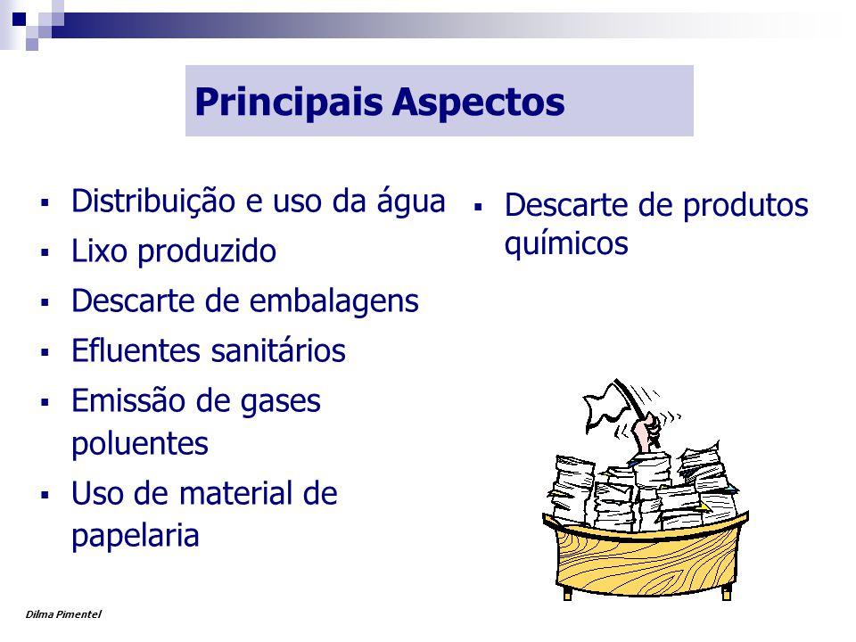 Principais Aspectos  Distribuição e uso da água  Lixo produzido  Descarte de embalagens  Efluentes sanitários  Emissão de gases poluentes  Uso de material de papelaria  Descarte de produtos químicos Dilma Pimentel