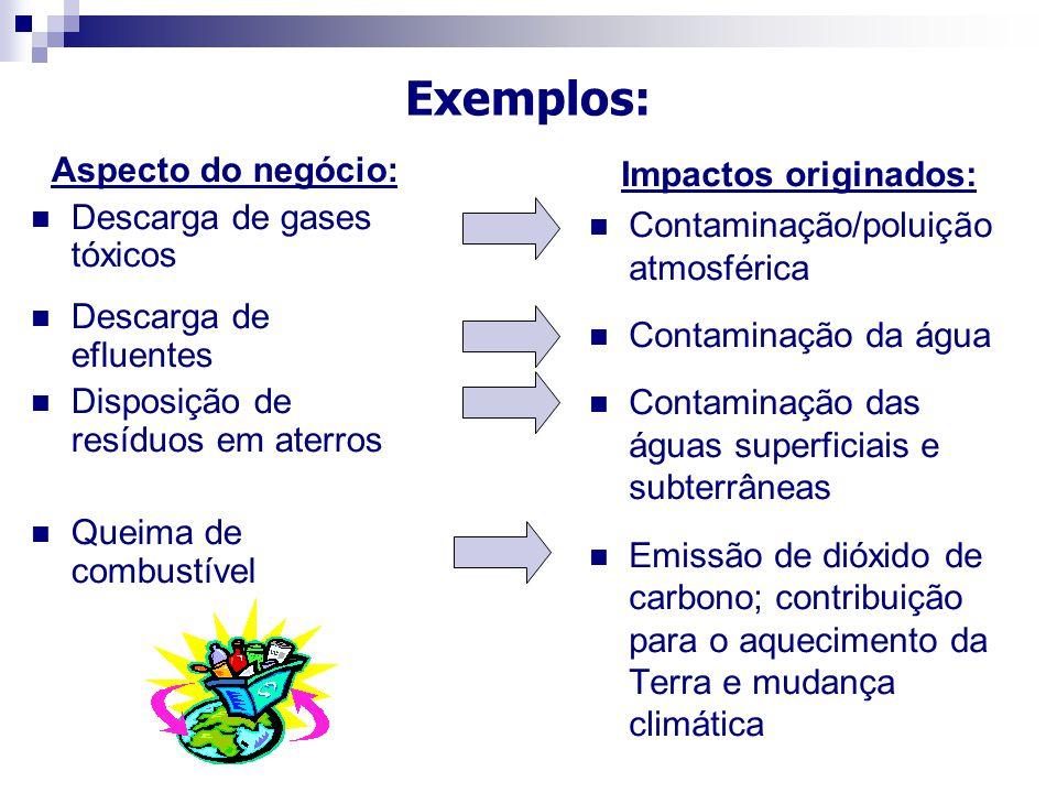 Aspecto do negócio: Descarga de gases tóxicos Descarga de efluentes Disposição de resíduos em aterros Queima de combustível Impactos originados: Conta
