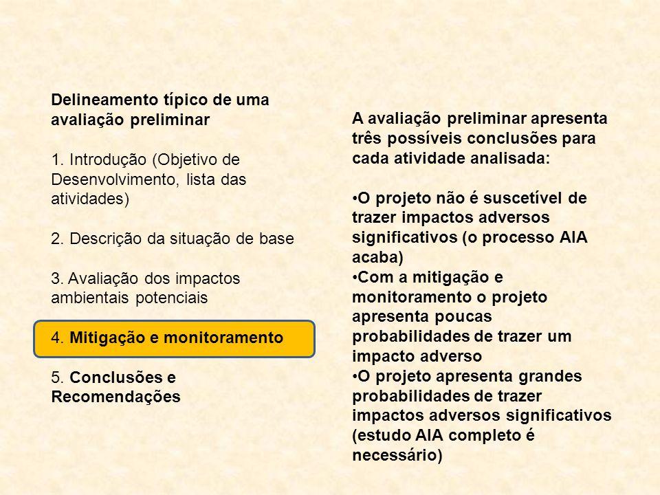 Delineamento típico de uma avaliação preliminar 1. Introdução (Objetivo de Desenvolvimento, lista das atividades) 2. Descrição da situação de base 3.