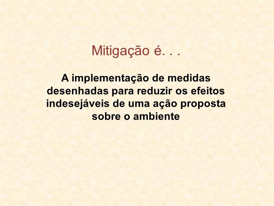 Mitigação é... A implementação de medidas desenhadas para reduzir os efeitos indesejáveis de uma ação proposta sobre o ambiente