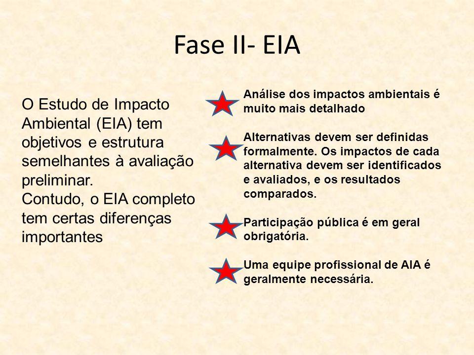 Fase II- EIA O Estudo de Impacto Ambiental (EIA) tem objetivos e estrutura semelhantes à avaliação preliminar. Contudo, o EIA completo tem certas dife
