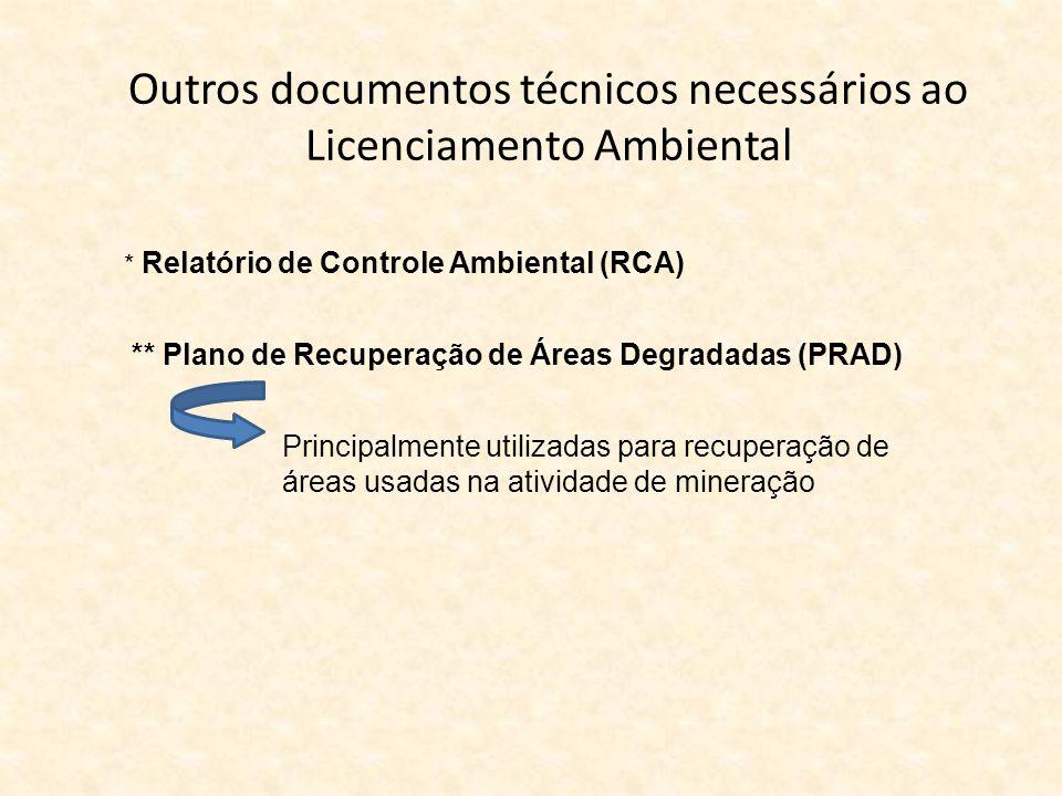 Outros documentos técnicos necessários ao Licenciamento Ambiental * Relatório de Controle Ambiental (RCA) ** Plano de Recuperação de Áreas Degradadas