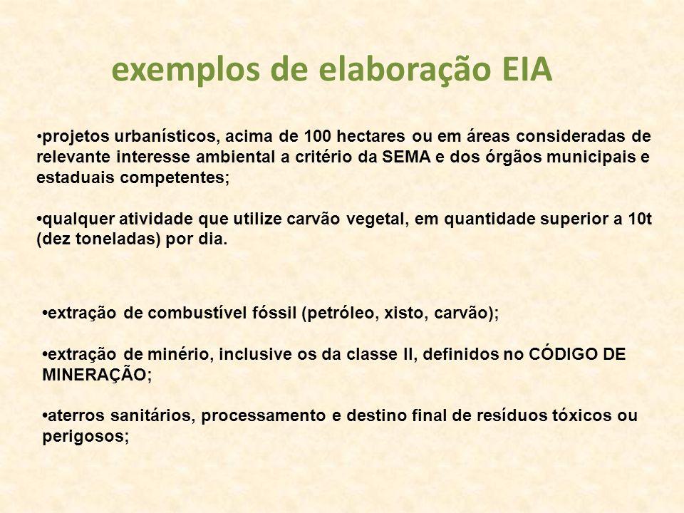 projetos urbanísticos, acima de 100 hectares ou em áreas consideradas de relevante interesse ambiental a critério da SEMA e dos órgãos municipais e es