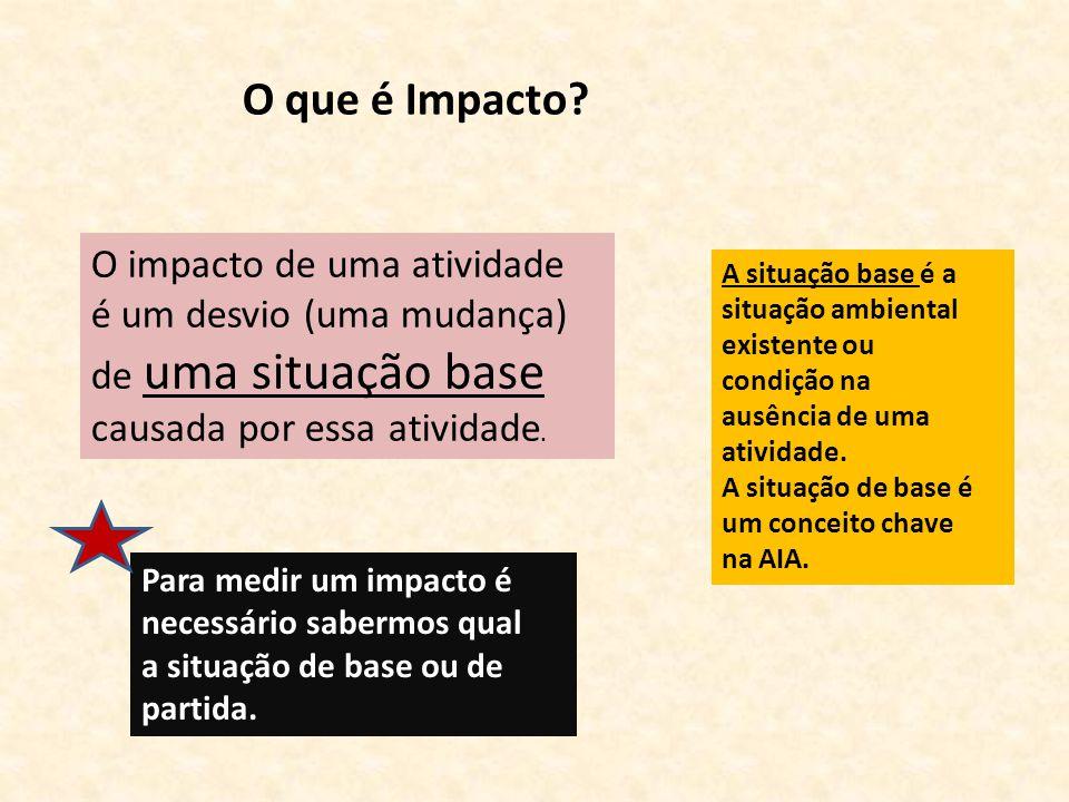 O impacto de uma atividade é um desvio (uma mudança) de uma situação base causada por essa atividade. Para medir um impacto é necessário sabermos qual