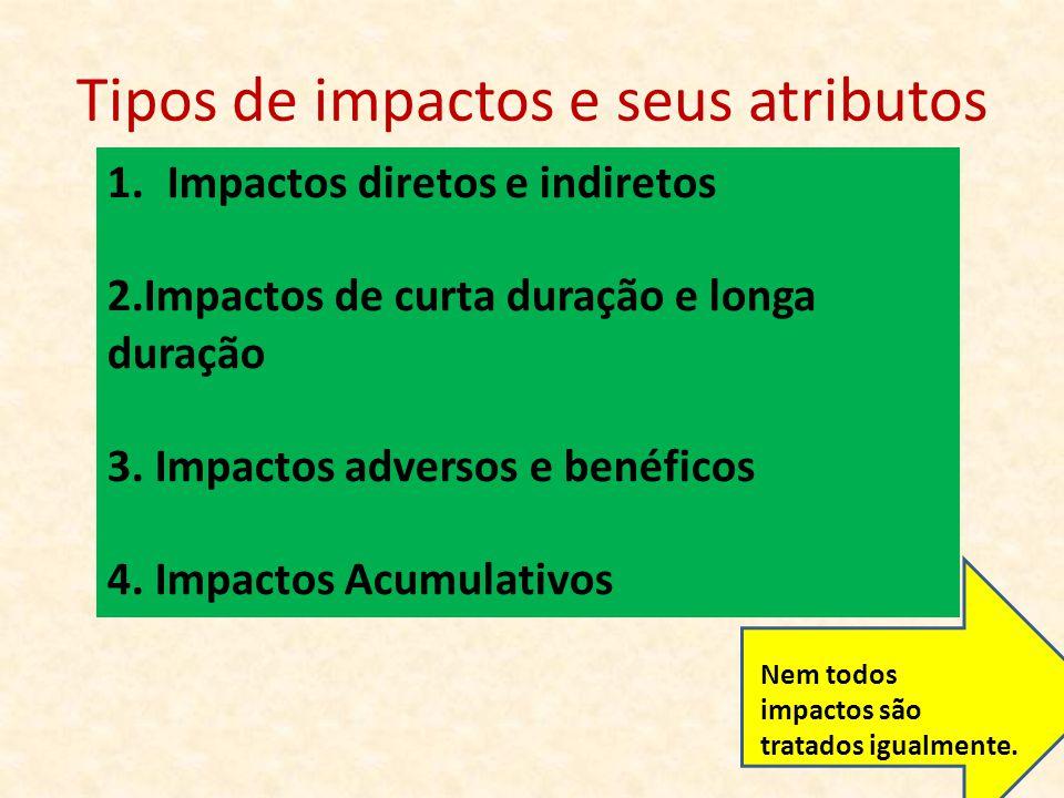 Tipos de impactos e seus atributos 1.Impactos diretos e indiretos 2.Impactos de curta duração e longa duração 3. Impactos adversos e benéficos 4. Impa