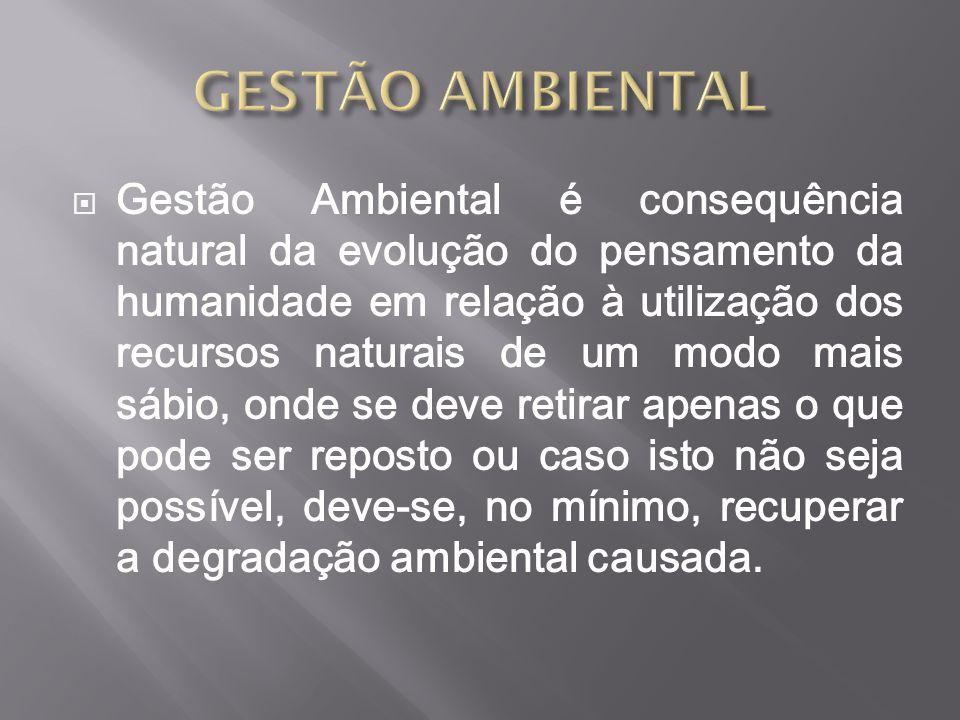  Gestão Ambiental é consequência natural da evolução do pensamento da humanidade em relação à utilização dos recursos naturais de um modo mais sábio,