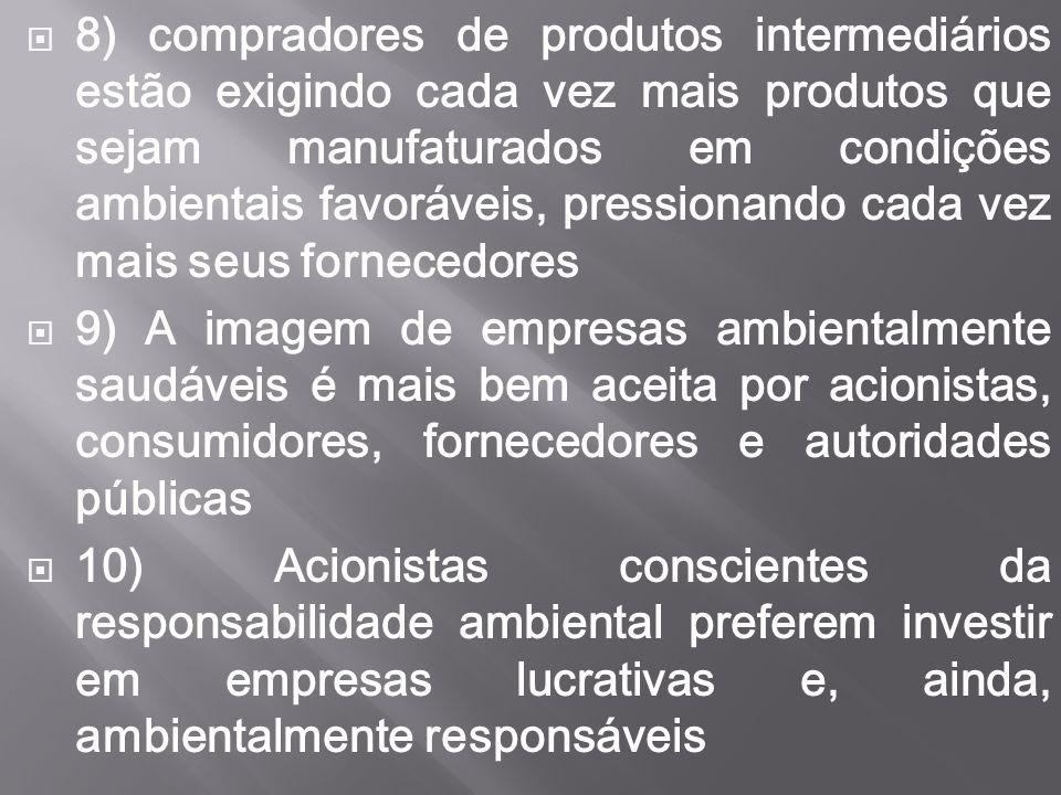  8) compradores de produtos intermediários estão exigindo cada vez mais produtos que sejam manufaturados em condições ambientais favoráveis, pression