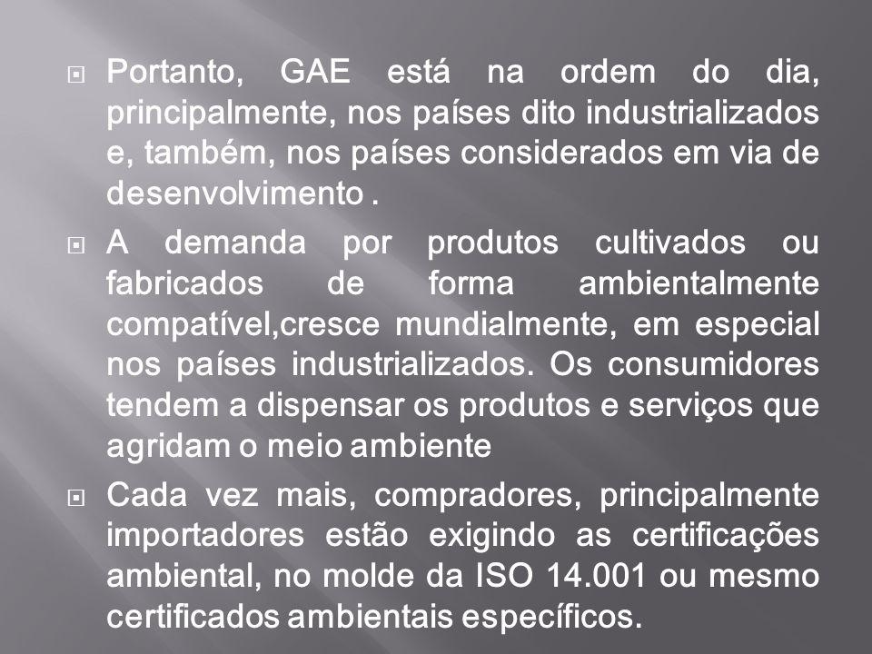  Portanto, GAE está na ordem do dia, principalmente, nos países dito industrializados e, também, nos países considerados em via de desenvolvimento. 