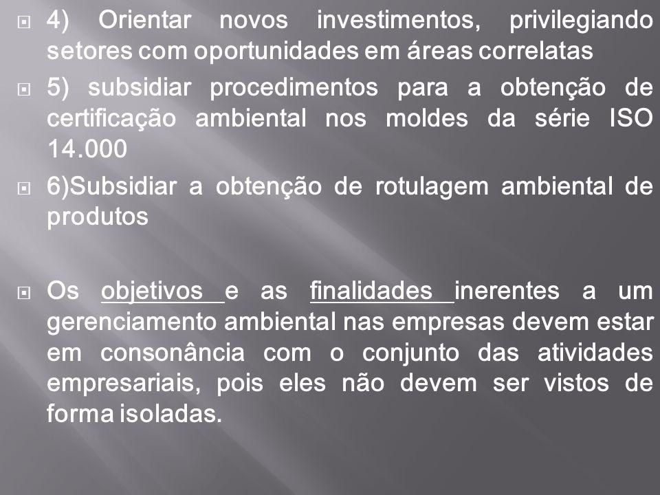  4) Orientar novos investimentos, privilegiando setores com oportunidades em áreas correlatas  5) subsidiar procedimentos para a obtenção de certifi