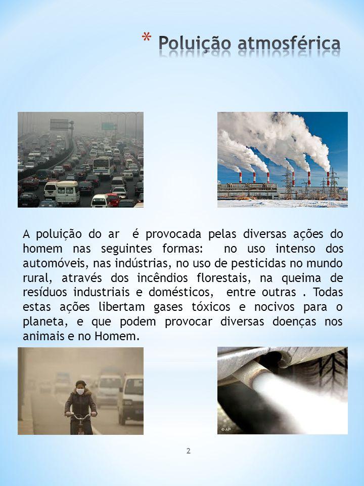 2 A poluição do ar é provocada pelas diversas ações do homem nas seguintes formas: no uso intenso dos automóveis, nas indústrias, no uso de pesticidas