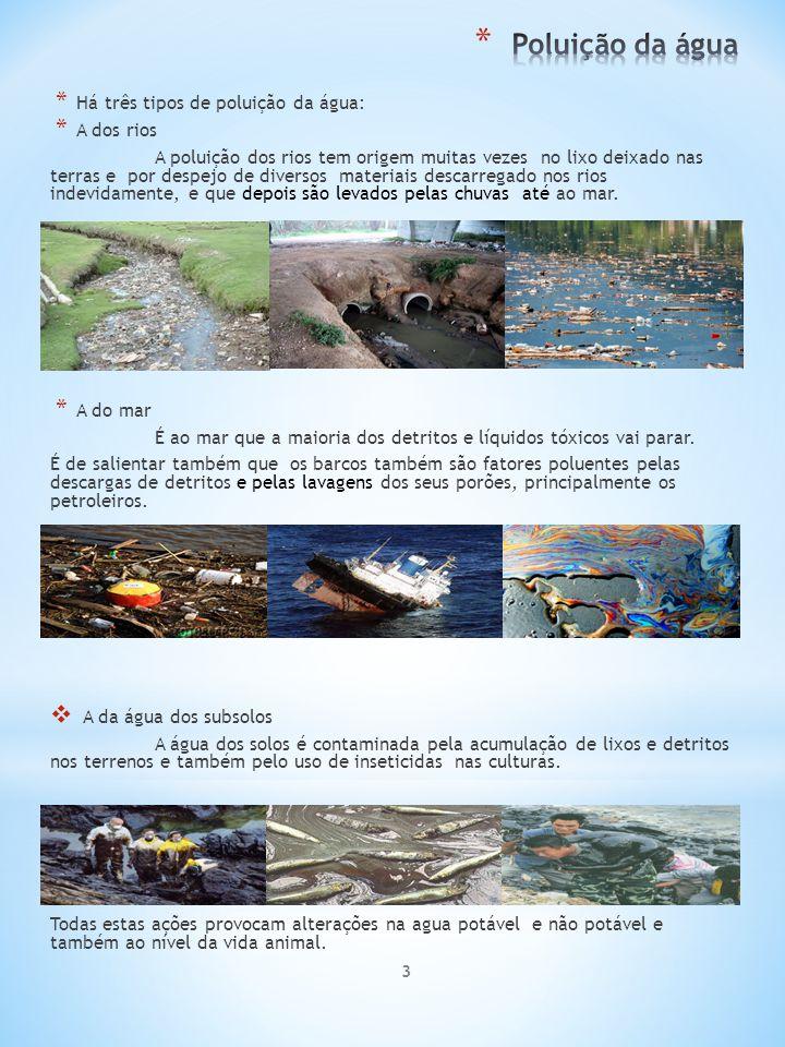 3 * Há três tipos de poluição da água: * A dos rios A poluição dos rios tem origem muitas vezes no lixo deixado nas terras e por despejo de diversos m