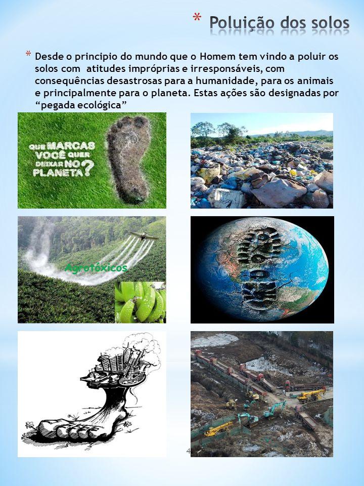 4 * Desde o principio do mundo que o Homem tem vindo a poluir os solos com atitudes impróprias e irresponsáveis, com consequências desastrosas para a