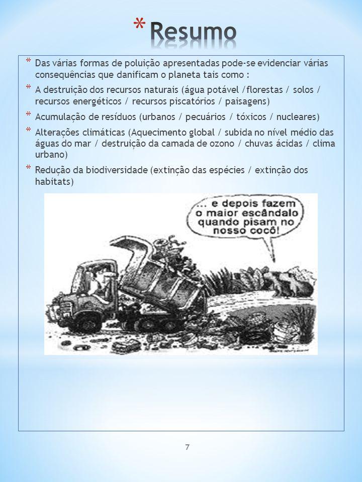 7 * Das várias formas de poluição apresentadas pode-se evidenciar várias consequências que danificam o planeta tais como : * A destruição dos recursos