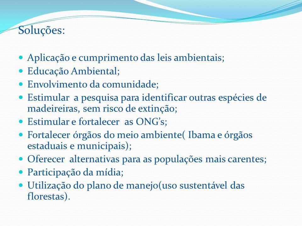 Soluções: Aplicação e cumprimento das leis ambientais; Educação Ambiental; Envolvimento da comunidade; Estimular a pesquisa para identificar outras espécies de madeireiras, sem risco de extinção; Estimular e fortalecer as ONG's; Fortalecer órgãos do meio ambiente( Ibama e órgãos estaduais e municipais); Oferecer alternativas para as populações mais carentes; Participação da mídia; Utilização do plano de manejo(uso sustentável das florestas).