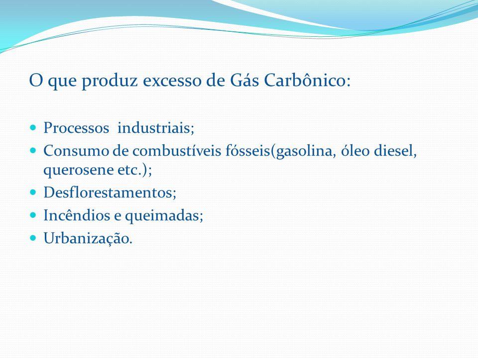 O que produz excesso de Gás Carbônico: Processos industriais; Consumo de combustíveis fósseis(gasolina, óleo diesel, querosene etc.); Desflorestamentos; Incêndios e queimadas; Urbanização.