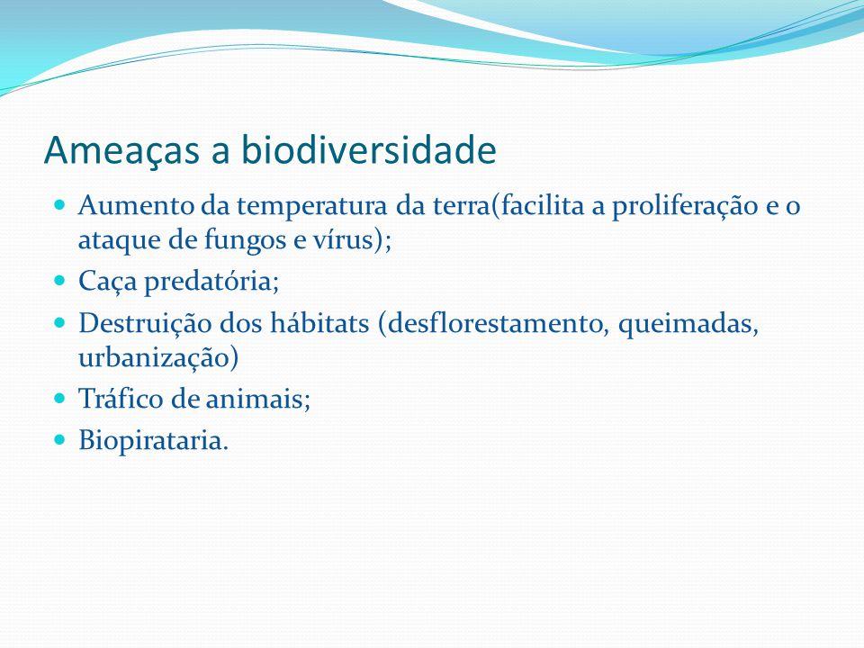 Ameaças a biodiversidade Aumento da temperatura da terra(facilita a proliferação e o ataque de fungos e vírus); Caça predatória; Destruição dos hábitats (desflorestamento, queimadas, urbanização) Tráfico de animais; Biopirataria.